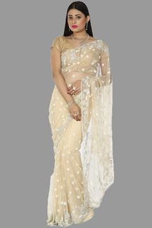 Picture of Sophisticated Cream Colored Net Saree