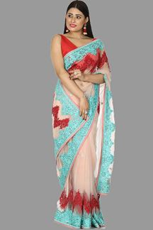 Picture of Desirable Peach Colored Designer Embroidered Net Saree