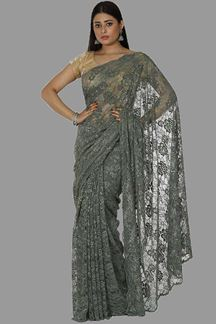 Picture of Radiant Dusty Green Colored Partywear Netted Saree