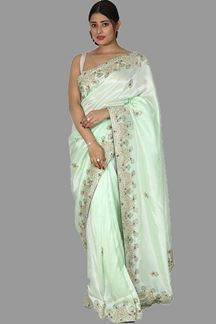 Picture of Arresting Sea Green Colored Party Wear Saree With Tassels