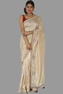Picture of Blissful Dark Beige Colored Festive Wear Saree