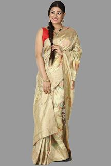 Picture of Graceful Golden Colored Tissue Silk Saree