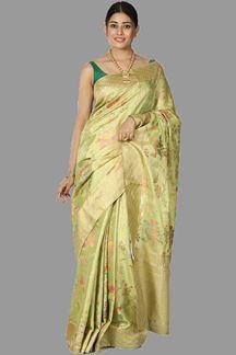 Picture of Flirty Green Colored Festive Wear Banarasi Tissue Silk Saree