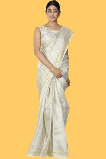 Picture of Unique Gold Colored Festive Wear Woven Linen Saree