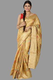 Picture of Mustard Yellow Colored Banarasi Tissue Silk Saree