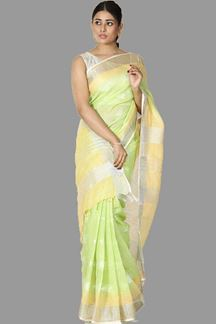 Picture of Ideal Liril Green Colored Festive Wear Linen Silk Saree