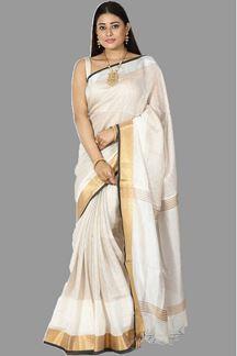 Picture of Tempting Silver & Cream Colored Banarasi Tissue Saree