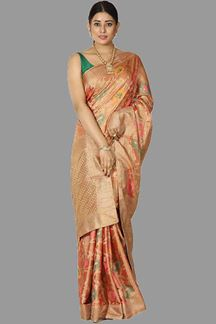 Picture of Stunning Orange Colored Banarasi Tissue Silk Saree