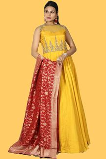 Picture of Stunning Mustard Yellow Colored Art Silk Anarkali Suit