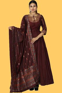 Picture of Flirty Maroon Colored Party Wear Art Anarkali Suit