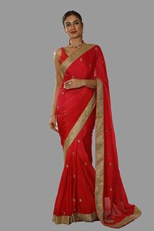 Picture of Imposing Red Colored Partywear Saree