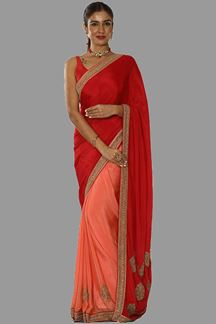 Picture of Graceful Red-Peach Colored Partywear Half-Half Saree