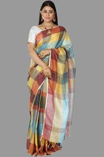 Picture of Attractive Multi-Colored Linen Silk Saree