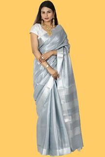 Picture of Graceful Grey Colored Linen Tissue Saree