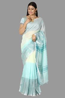 Picture of Tempting Pista Green & Sea Blue Colored Linen Silk Saree