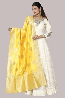 Picture of Imposing Cream Colored Chandheri Silk Anarkali Suit