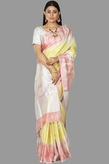 Picture of Captivating Yellow & Peach Colored Linen Tissue Saree