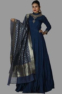 Picture of Entrancing Navy Blue Colored Embroidered Anarkali Suit
