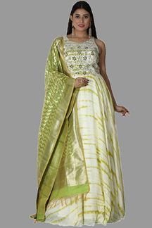 Picture of Majesty Cream & Green Colored Partywear Anarkali Suit