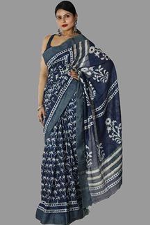 Picture of Royal Blue Color Gadwal Silk Saree