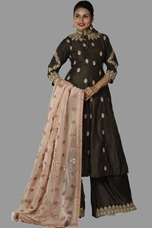 Picture of Prominent Brown Colored Peplum Style Palazzo Suit