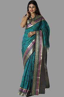 Picture of Glorious Rama Green Colored Banarasi Silk Saree