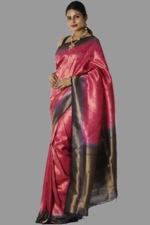 Picture of Graceful Rani Pink & Navy Blue Colored Brocade Silk Saree