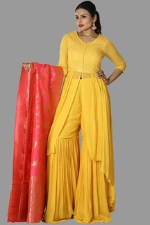 Picture of Lovely Yellow Colored Gharara Suit