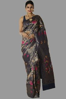 Picture of Exceptional Navy Blue Colored Brocade Silk Saree
