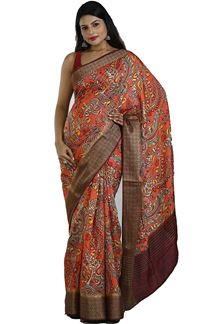 Picture of Orange Colored Printed Art Silk Saree