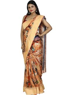 Picture of Sophisticated Peach Colored Art Silk Saree