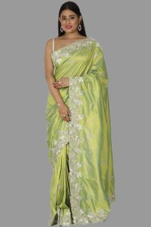 Picture of Preferable Green Colored Embroidered Silk Saree