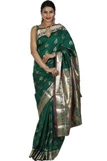 Picture of Bottle Green & Magnet Colored Kanjivaram Art Silk Saree