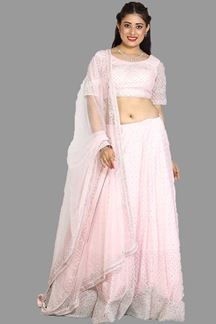 Picture of Baby Pink Colored Party Wear Net Lehenga Choli