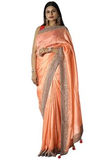 Picture of Lovely Peach Colored Party Silk Saree