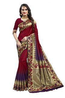 Picture of Relishing Magenta & Purple Color Designer Silk Saree