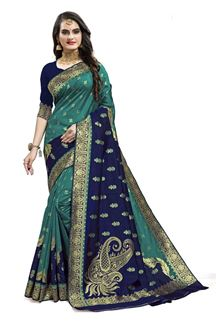 Picture of Delightful Rama Blue & Navy Blue Colored Designer Silk Saree