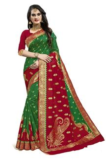 Picture of Exceptional Red & Green Colored Designer Silk Saree