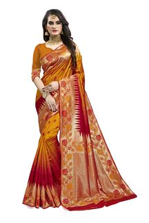 Picture of Exceptional Mustard & Red Colored Designer Silk Saree