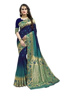 Picture of Desiring Blue Colored Designer Silk Saree