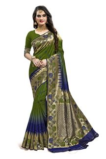 Picture of Exceptional Green & Blue Colored Designer Silk Saree