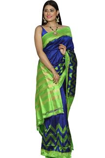 Picture of Royal Blue & Green Colored Patola Silk Saree