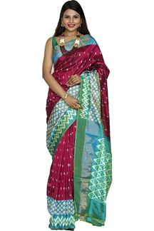 Picture of Magenta & Firozi Blue Color Patola Silk Saree