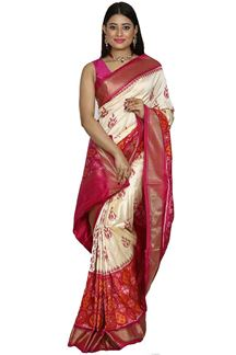 Picture of Engrossing Cream-Pink Colored Patola Silk Saree
