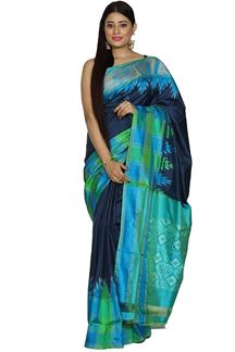 Picture of Trendy  Navy Blue With Green Colored Patola Silk Saree