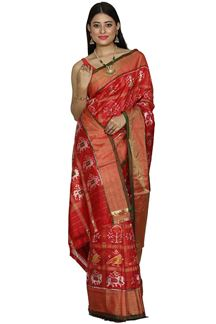 Picture of Red  Color Patola Silk Gharchola Saree