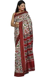 Picture of Elegant White & Maroon Color Patola Silk Saree