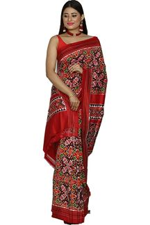 Picture of Charming Red Color Ikat Patola Pure Silk Saree