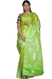 Picture of Captivating Neon Green Color Kanjivaram Silk Saree