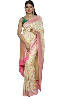 Picture of Graceful Cream & Pink Color Banarasi Georgette Silk Saree